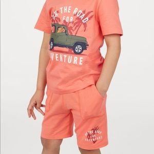 """NWT H&M Boys """"Adventure"""" Orange Shorts 2-3Y"""